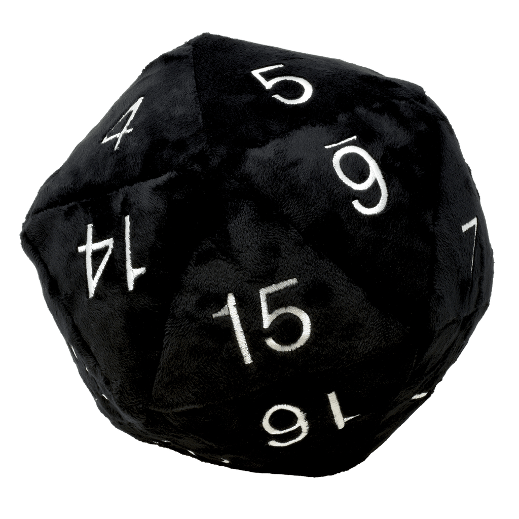 Jumbo D20 Novelty Dice Plush in Black with Silver Numbering