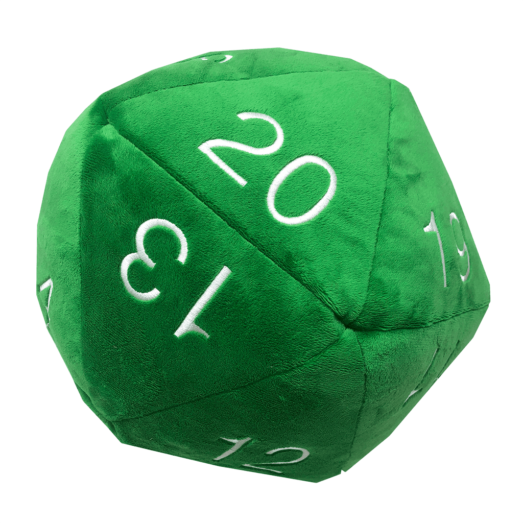 Jumbo D20 Novelty Dice Plush in Green with White Numbering