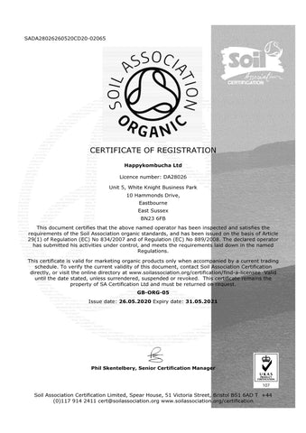 Happykombucha-Soil association certificate
