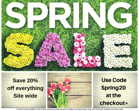 Spring sale now on Save a massive 20% on everything