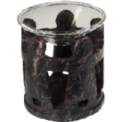 Natural soapstone with glass dish oil burner
