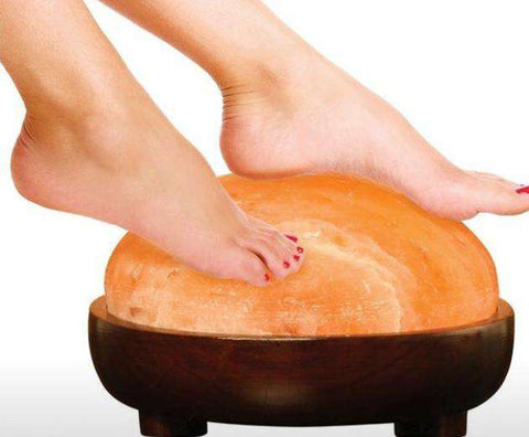 Dome Shape, Himalayan salt lamp/ Foot massager with wooden stand