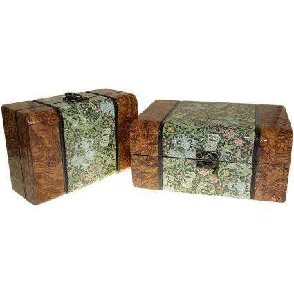 Set of 2 Boxes - medium Walnut Floral