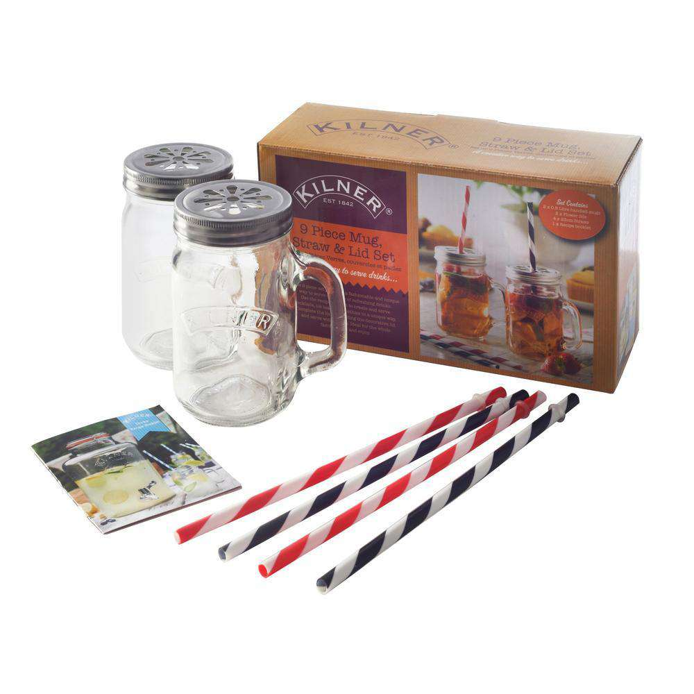Kilner 9 Piece Mug And Straw Set
