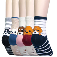 KONY 5 Pack Women's Cute Animal Socks Cotton Cat Dog Duck Patterned Novelty Fun Crew Socks Gift Size 6-9