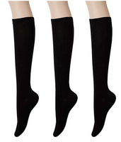 KONY Women's Cotton Knee High Socks - Casual Solid & Triple Stripe Colors Fashion Socks 3 Pairs (Women's Shoe Size 5-9)