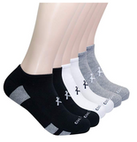 KONY Women's 6 Pack Thick Cotton Cushioned Low Cut Ankle Athletic Socks Air-cross Mesh No Show Running Socks