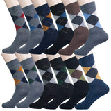 YourFeet Men's 12 Pairs Cotton Colorful Stripe Argyle Designed Business Dress Socks Gift Size 9-12