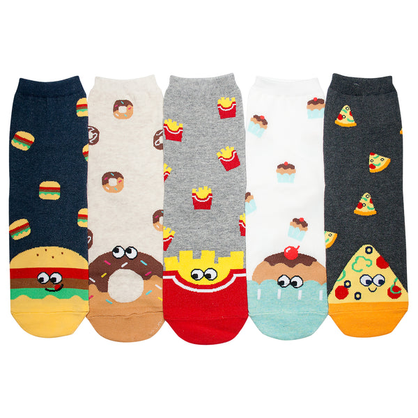 KONY Women's Cotton Fun Animal Food Designed Novelty Crew Socks Gifts Size 6-9