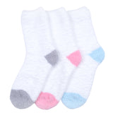 KONY Women's 3 Pairs Cozy Warm Microfiber Fuzzy Socks Anti-Skid Home Slipper Socks Gift Idea