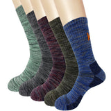 KONY 5 Pairs Men's Moisture Wicking Thick Cushioned Long Hiking Crew Socks, Multi Performance, All Season Gift