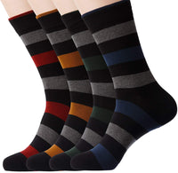 KONY 4 Pack Men's Premium Combed Cotton Dress Crew Socks - Classic Colorful Stripe Patterned Business Socks