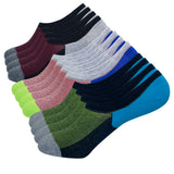KONY Men's 6 Pack Cotton No Show Low Cut Boat Socks Non Slip Grips - All Season Gift