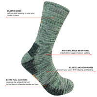 KONY 5 Pairs Men's Moisture Wicking Thick Cushioned Hiking Socks Outdoor Multi Performance Mid Calf All Season Gift