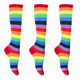 KONY Women's 3 Pack Cotton Colorful Striped Rainbow Knee High Socks Comfortable Stay Up Best Gift Size 6-10