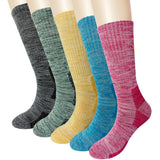 KONY 5 Pack Women's Full Cushioned Moisture Wicking Cotton Multi Performance Outdoor Hiking Socks - All Season Gift
