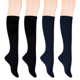 KONY Women's 4 Pairs Casual Knee High Socks Soft Stretch Cotton All Season Gift Size 6-10