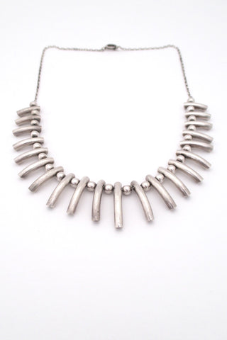 A Dragsted Denmark vintage heavy silver graduated fringe necklace Scandinavian Modern design