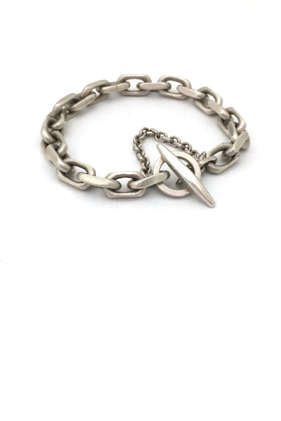 A G Madsen Denmark vintage heavy silver chain link bracelet toggle clasp Danish Modern jewelry design