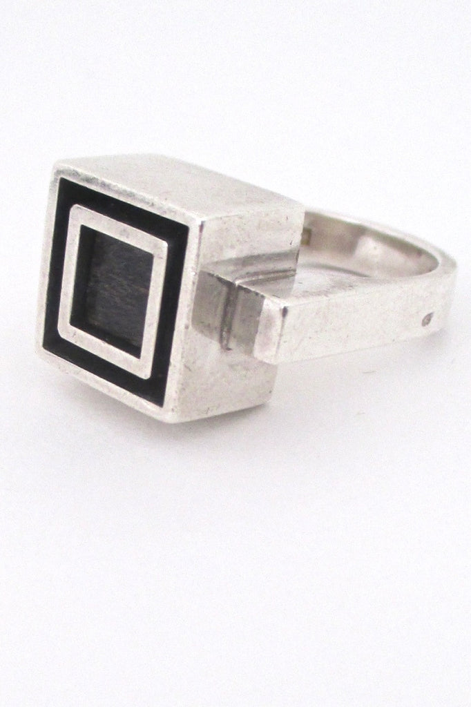 Alton Sweden vintage Scandinavian Modernist heavy silver & ebony ring