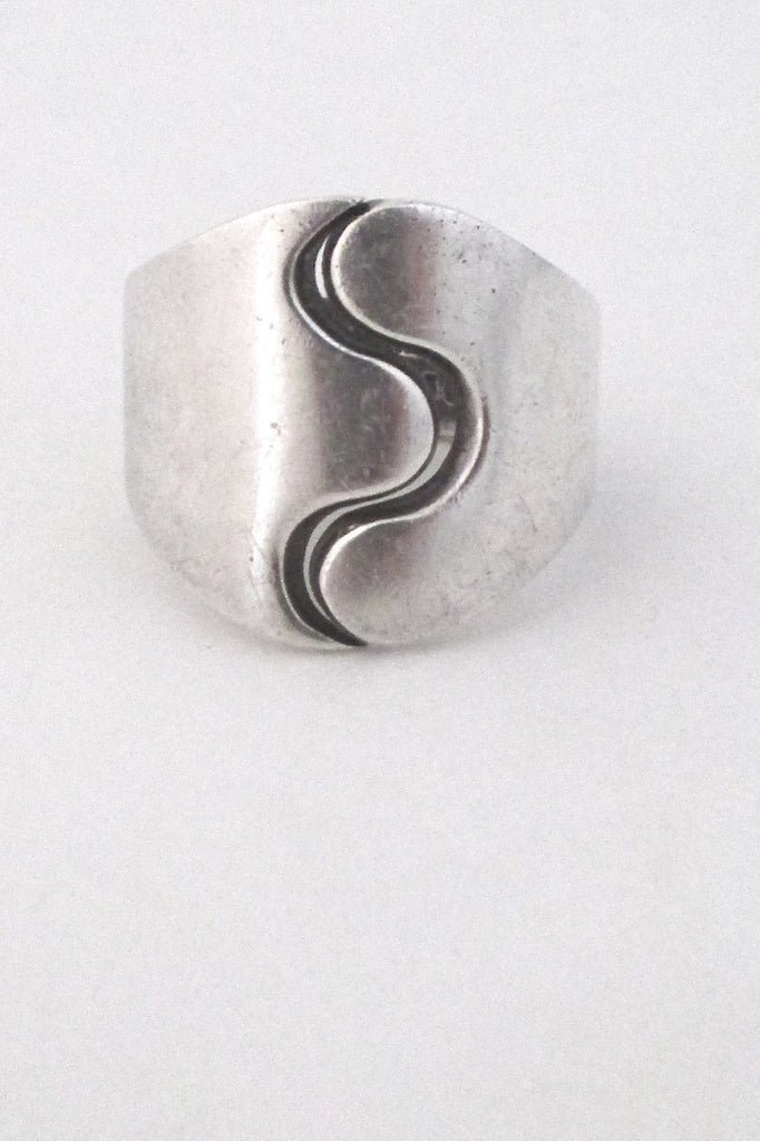 Andreas Mikkelsen Denmark large sterling silver Scandinavian modernist ring
