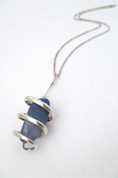Anna Greta Eker Norway Design vintage modernist silver and banded agate pendant necklace