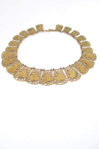Anne Dick USA vintage pierced bronze large link necklace