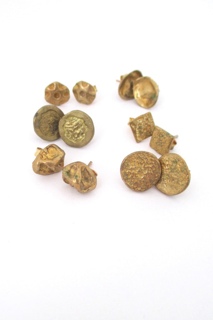 Anne Dick USA vintage bronze earrings for pierced ears six pair