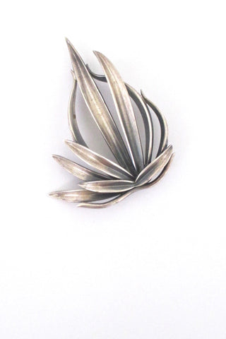 Anton Michelsen Denmark vintage silver Grass brooch by Gertrud Engel large version