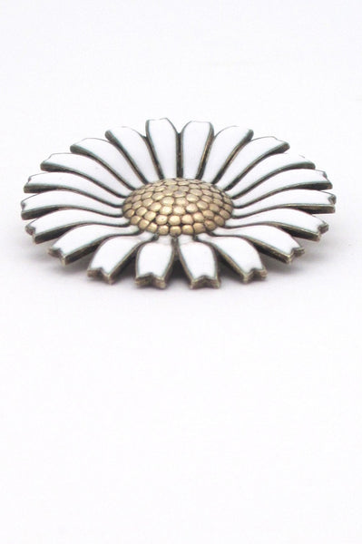 Anton Michelsen Denmark vintage classic large Marguerite daisy sterling and enamel brooch