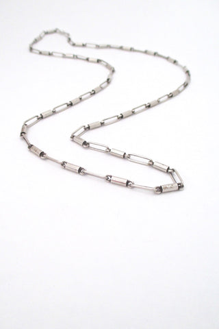 Arne Johansen Denmark long heavy silver link chain necklace Scandinavian Modern vintage jewelry