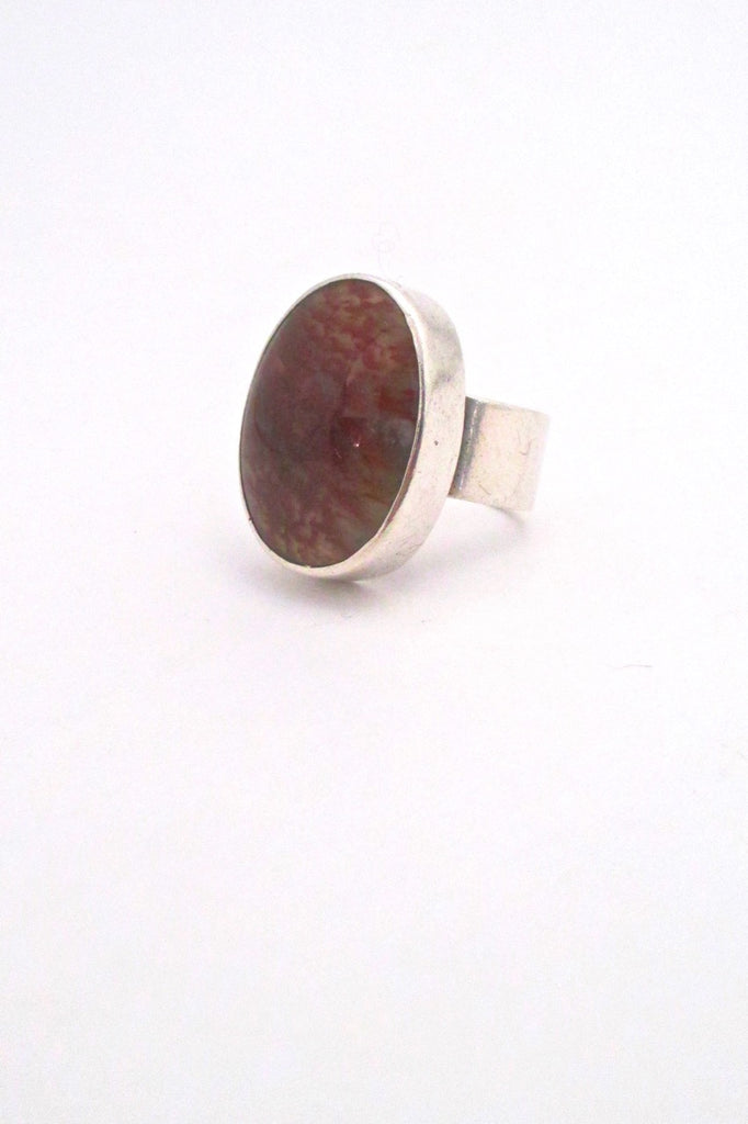 Bernard Chaudron Canada large silver red moss agate ring vintage Canadian Modernist jewelry