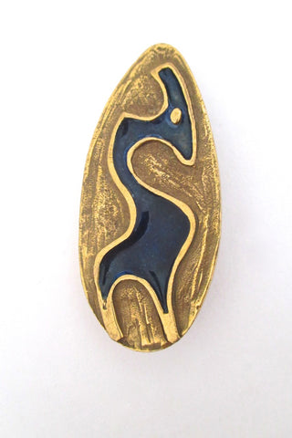 Bernard Chaudron Canada vintage brutalist bronze enamel abstract animal brooch