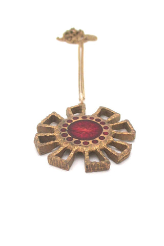 Bernard Chaudron Canada vintage brutalist bronze two sided red flower necklace