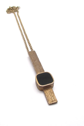 Bernard Chaudron Canada vintage brutalist bronze black resin enamel long pendant necklace
