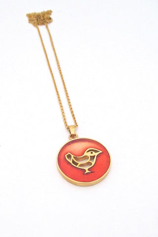 Bernard Chaudron Canada vintage Modernist resin enamel song bird pendant necklace orange