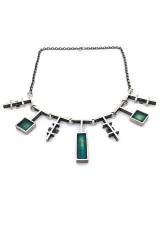 Bernard Chaudron Canada vintage sterling silver resin enamel necklace rare modernist jewellery design