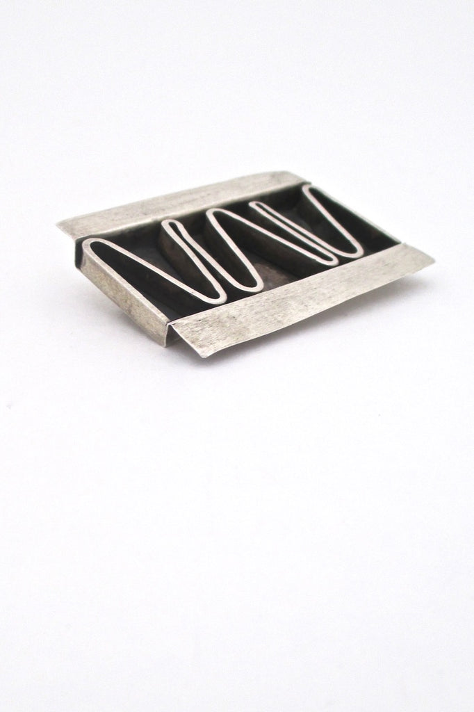 Betty Cooke USA American Modernist large silver shadowbox brooch