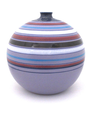 Aldo Londi for Bitossi Italy large round ceramic mid century vase matte and gloss glazed stripes