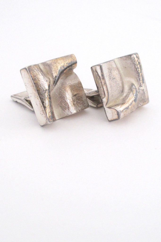 Bjorn Weckstrom for Lapponia Finland 1972 large square silver cufflinks