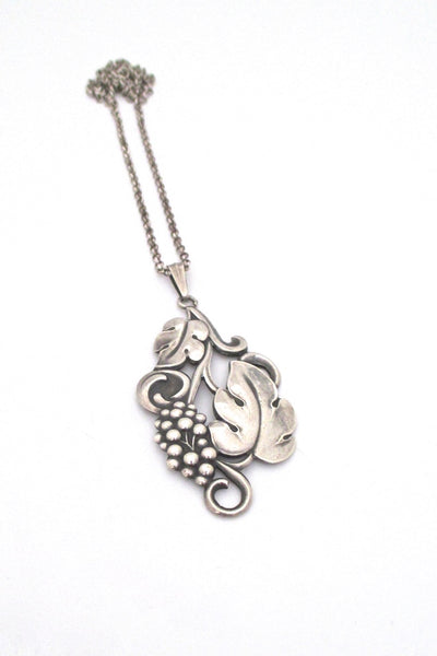 Carl M Cohr Denmark vintage 830 silver large leaves and berries pendant necklace