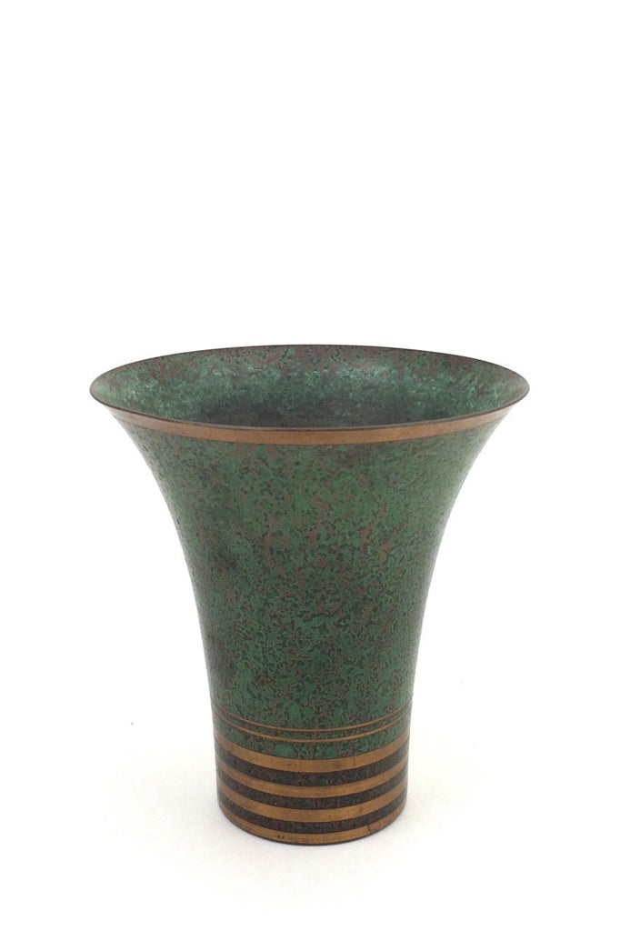 Carl Sorensen USA vintage art deco patinated bronze trumpet vase signed