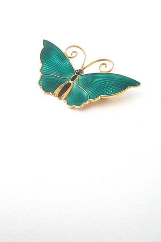 detail David-Andersen Norway vintage Modernist silver enamel large butterfly brooch