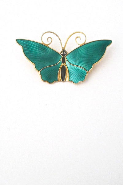 David-Andersen Norway vintage Modernist silver enamel large butterfly brooch