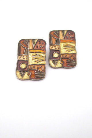 David-Andersen Norway vintage sterling enamel four seasons autumn ear clips