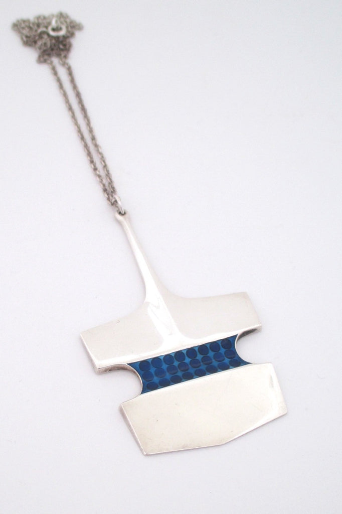 David Andersen Norway large vintage modernist heavy silver enamel pendant