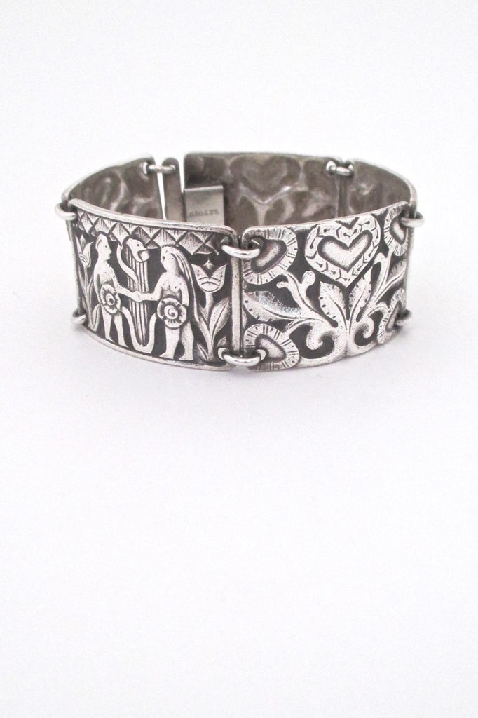 David Andersen Norway vintage silver Adam and Eve classic panel link bracelet