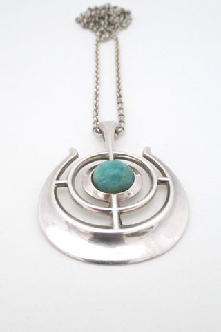 b04057de268 Sold David Andersen Norway large Scandinavian Modern vintage silver  amazonite pendant Nordic design