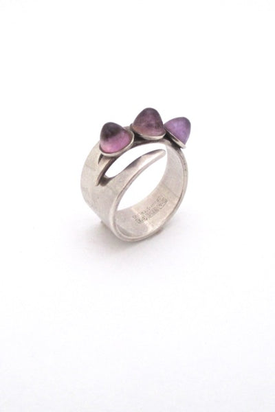 David Andersen Norway vintage Modernist silver amethyst adjustable ring