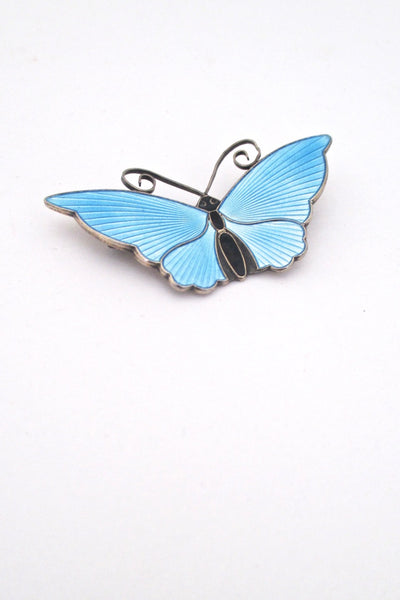 detail David-Andersen Norway vintage silver sky blue enamel large 2 inch butterfly brooch